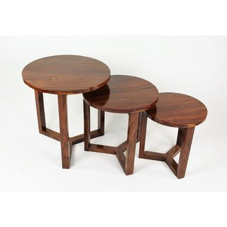 MUBELL Sheesham Wood Luno Side table set of 3 Tables