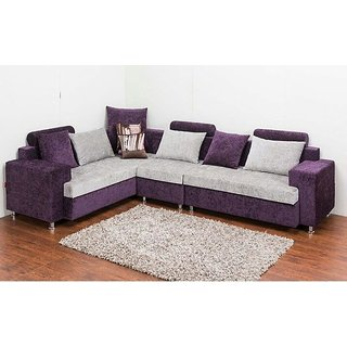 L Shaped Sofa Set In Purple And White Colour