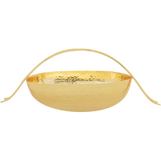 Golden Hammered Fish Handle Deep Oval Nut Bowl