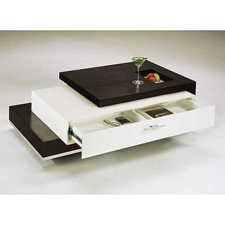 Dream Furniture Center Table With Drawer Rectangle Shape Brown U0026 White