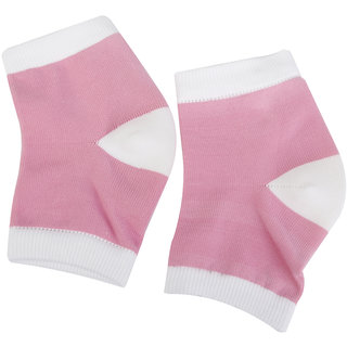 Footful Gel Heel Dry Hard Skin Moisturizing Open Toe Socks Pain Relief Pink