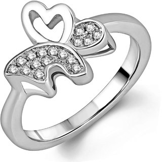 Om Jewells Sterling Silver Butterfly-winged ring with CZ stones FR7000508