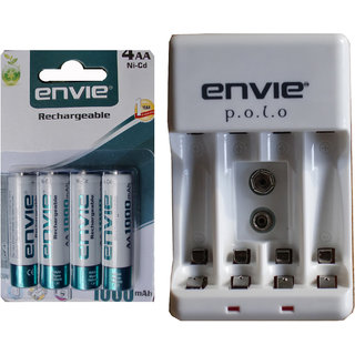 AA RECHARGEABLE BATTERY 1000 MAH NICD 4 PCS + ECR4 4-CELL CHARGER FOR AA/AAA