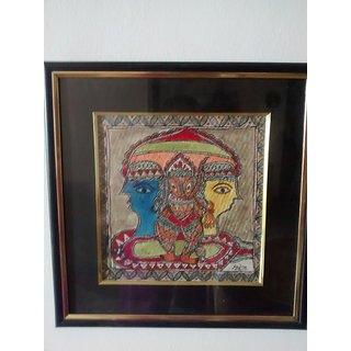 Madhubani art of Shiva parvati and baby ganesh in Madhubani style