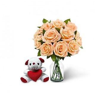 KaBloom Dozen Peach Rose Bouquet & Teddy