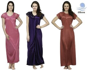 Oleva Multicolor Satin Plain Night Gowns  Nighty(Combo of 3) OHD 54