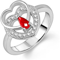 Om Jewells Sterling Silver Red Two Heart Ring with CZ stones for Women FR7000524