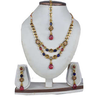 c1a0c99823949 Beautiful Traditional Ruby Blue Necklace Set