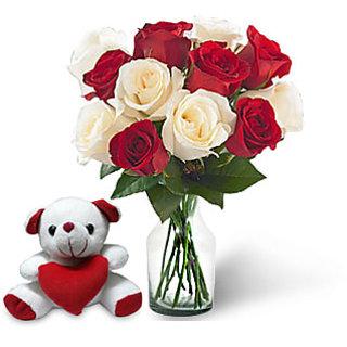 KaBloom Dozen Red-White Rose Bouquet & Teddy