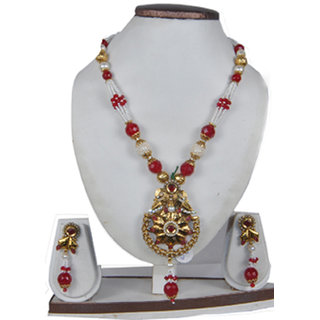 ddc086ccf646f Beautiful Traditional Pearl Ruby Necklace Set