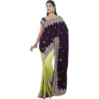 Avf Velvet And Georgette Saree - Purple And Green