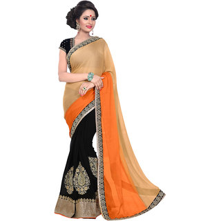 Avf Embroided Saree - Cream And Orange