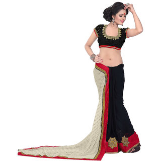Avf Embroided Saree - Cream And Black