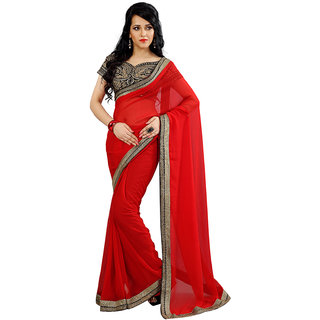 Avf Embroided Saree - Red And Black