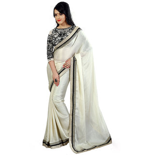 Avf Embroided Saree - White And Black