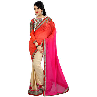 Avf Embroided Saree - Off White And Orange