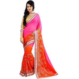 Avf Embroided And Zari Work Saree - Orange And Pink