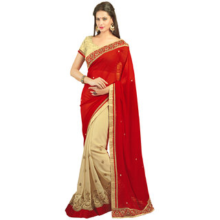 Avf Embroided Saree - Red And Cream