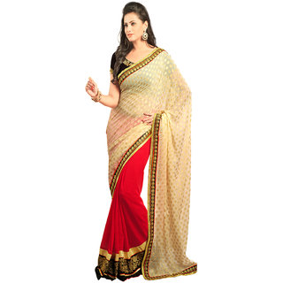 Avf Embroided Saree - White And Red