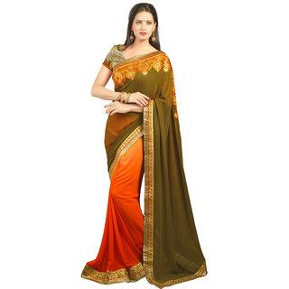 Avf Embroided Saree - Mehndi And Orange