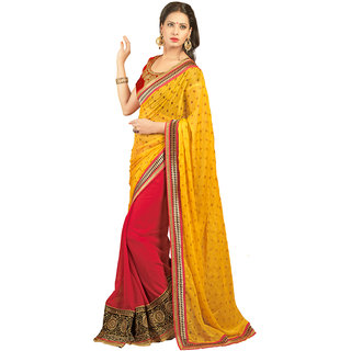 Avf Embroided Saree - Yellow And Red