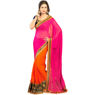 Avf Embroided Saree - Pink And Orange