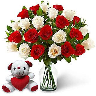 KaBloom Two Dozen Red-White Rose Bouquet & Teddy