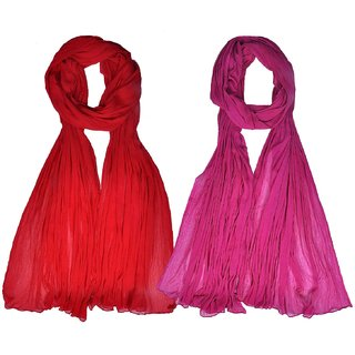 Womens Cottage Combo Pack of 2 Chiffon Dupatta Light Red & Magenta