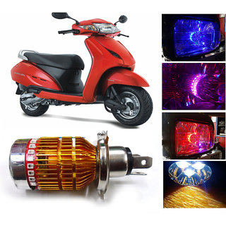 THE ONE CUSTOM 3 Led H4 Headlight With Multi Color Flashing Ring For Honda Activa Scooty - White