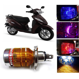 Capeshoppers 3 Led H4 Headlight With Multi Color Flashing Ring For Tvs Wego Scooty - White