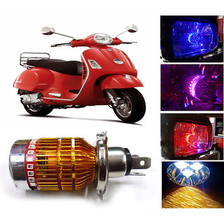 THE ONE CUSTOM 3 Led H4 Headlight With Multi Color Flashing Ring For Vespa Scooty - White