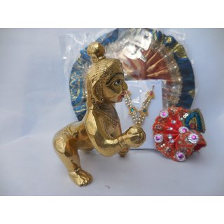 Laddu Gopal Bal Krishna Brass House ldol/statue,550gm with dress, accessories