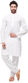 RG Designers Mens Cotton Plain White A Kurta