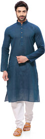 RG Designers Mens Handloom Green Blue Kurta