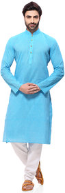 RG Designers Mens Handloom Light Blue Kurta