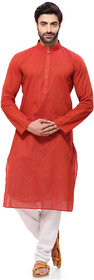 RG Designers Men Handloom Red Regular Fit A Kurta