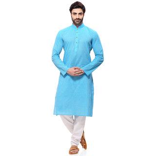 RG Designers Mens Handloom Light Blue Kurta