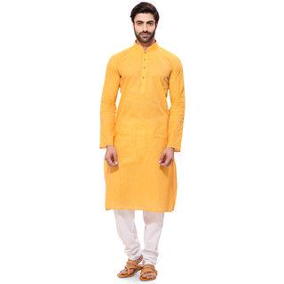 RG Designers Mens Handloom Yellow Kurta