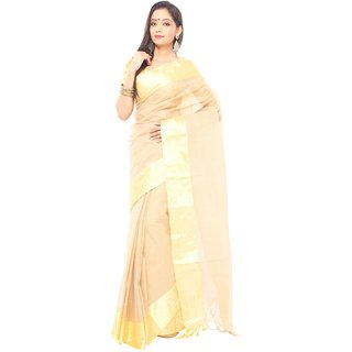 Tan brown  color Traditional bangal Tant Cotton saree  with golden Zori Broder