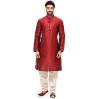RG Designers Ethnic Mens Red Kurta