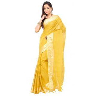 Golden color Indian  Traditional Tant  cotton saree  with golden Zori Broder an