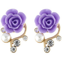 One Stop Fashion Simple & Elegant Purple Colour Alloy Floral Earring For Girls & Womens