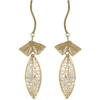 One Stop Fashion Graceful & Glamorous Gold Colour Alloy Leaf Shaped Long Earring For Girls & Womens