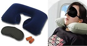 Premium Inflatable Neck Pillow with Eye Mask and Ear Buds Travel Combo Kit