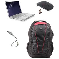 Combo Offer -Laptop Bag With Wireless Mouse, USB Led Light Amp Screen Guard