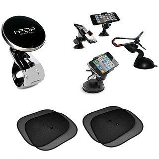 I-Pop Black Steering Knob + Car Mobile Holder + 4 Black Sun Shades For Toyota Innova Type-1 2004-2007
