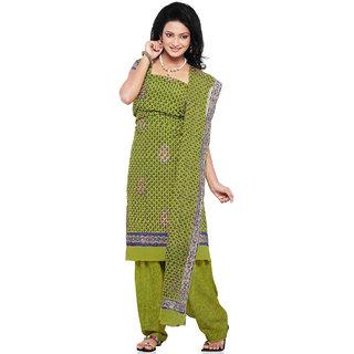 Parrot Green Pure Crepe Salwar Kameez