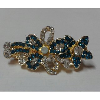 Hair pin with blue and white  stones