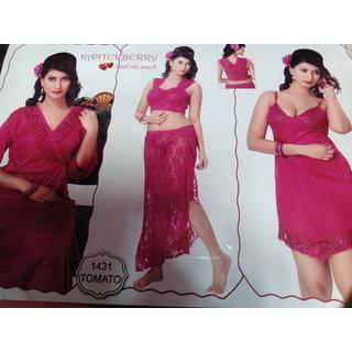 Kanterberry Sleepwear  Sarten Pink Women Night Suit