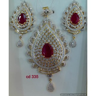 f96cfcf9285c4 Designer American Diamond and Imitation Ruby Studded Pendant Set with  Earrings